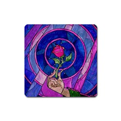 Enchanted Rose Stained Glass Square Magnet by Onesevenart