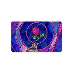 Enchanted Rose Stained Glass Magnet (name Card) by Onesevenart