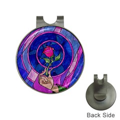 Enchanted Rose Stained Glass Hat Clips With Golf Markers by Onesevenart