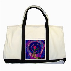 Enchanted Rose Stained Glass Two Tone Tote Bag by Onesevenart
