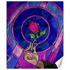 Enchanted Rose Stained Glass Canvas 8  X 10  by Onesevenart