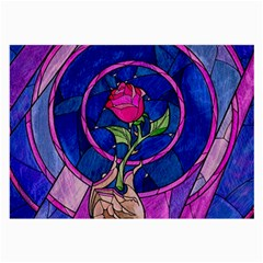 Enchanted Rose Stained Glass Large Glasses Cloth by Onesevenart