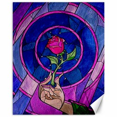 Enchanted Rose Stained Glass Canvas 11  X 14   by Onesevenart