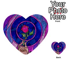 Enchanted Rose Stained Glass Multi Purpose Cards (heart)  by Onesevenart