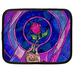 Enchanted Rose Stained Glass Netbook Case (large) by Onesevenart