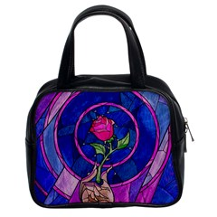 Enchanted Rose Stained Glass Classic Handbags (2 Sides) by Onesevenart
