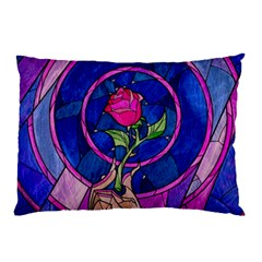 Enchanted Rose Stained Glass Pillow Case by Onesevenart