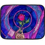 Enchanted Rose Stained Glass Fleece Blanket (Mini)