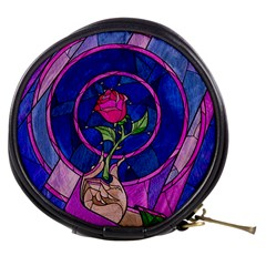 Enchanted Rose Stained Glass Mini Makeup Bags by Onesevenart