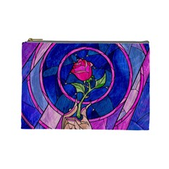 Enchanted Rose Stained Glass Cosmetic Bag (large)  by Onesevenart