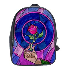 Enchanted Rose Stained Glass School Bags(large)  by Onesevenart