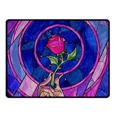 Enchanted Rose Stained Glass Fleece Blanket (small) by Onesevenart