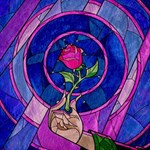 Enchanted Rose Stained Glass Magic Photo Cubes