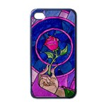 Enchanted Rose Stained Glass Apple iPhone 4 Case (Black)