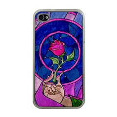 Enchanted Rose Stained Glass Apple Iphone 4 Case (clear) by Onesevenart