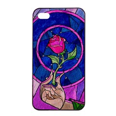 Enchanted Rose Stained Glass Apple Iphone 4/4s Seamless Case (black) by Onesevenart