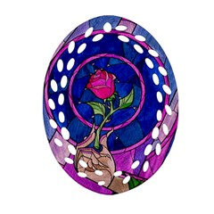Enchanted Rose Stained Glass Ornament (oval Filigree)  by Onesevenart