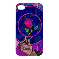 Enchanted Rose Stained Glass Apple Iphone 4/4s Hardshell Case by Onesevenart