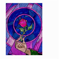Enchanted Rose Stained Glass Large Garden Flag (two Sides) by Onesevenart