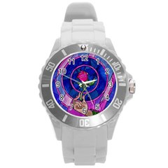 Enchanted Rose Stained Glass Round Plastic Sport Watch (l) by Onesevenart