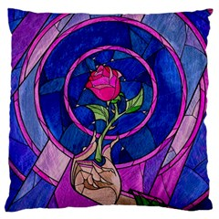 Enchanted Rose Stained Glass Large Cushion Case (two Sides) by Onesevenart