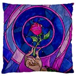 Enchanted Rose Stained Glass Large Cushion Case (Two Sides)