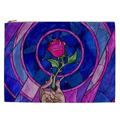 Enchanted Rose Stained Glass Cosmetic Bag (xxl)  by Onesevenart
