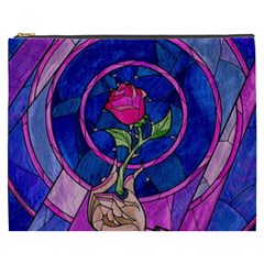 Enchanted Rose Stained Glass Cosmetic Bag (xxxl)  by Onesevenart