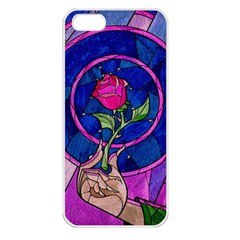 Enchanted Rose Stained Glass Apple Iphone 5 Seamless Case (white) by Onesevenart