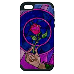Enchanted Rose Stained Glass Apple Iphone 5 Hardshell Case (pc+silicone) by Onesevenart