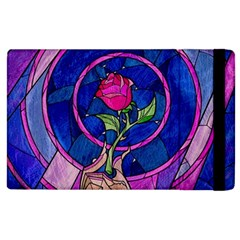 Enchanted Rose Stained Glass Apple Ipad 3/4 Flip Case by Onesevenart