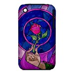 Enchanted Rose Stained Glass Apple iPhone 3G/3GS Hardshell Case (PC+Silicone)