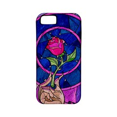 Enchanted Rose Stained Glass Apple Iphone 5 Classic Hardshell Case (pc+silicone) by Onesevenart