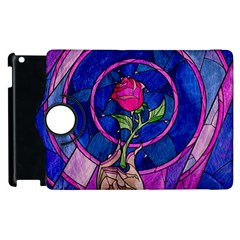 Enchanted Rose Stained Glass Apple Ipad 2 Flip 360 Case by Onesevenart