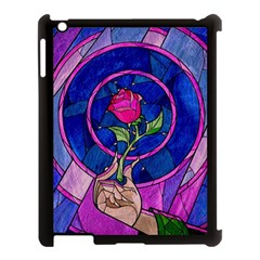 Enchanted Rose Stained Glass Apple Ipad 3/4 Case (black) by Onesevenart