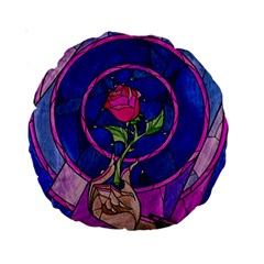 Enchanted Rose Stained Glass Standard 15  Premium Round Cushions by Onesevenart