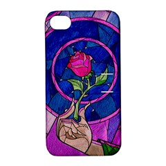 Enchanted Rose Stained Glass Apple Iphone 4/4s Hardshell Case With Stand by Onesevenart