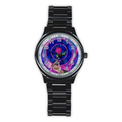 Enchanted Rose Stained Glass Stainless Steel Round Watch by Onesevenart