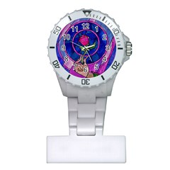 Enchanted Rose Stained Glass Plastic Nurses Watch by Onesevenart