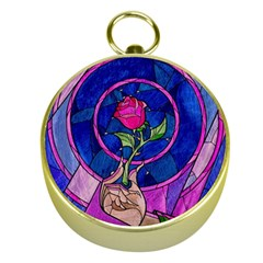 Enchanted Rose Stained Glass Gold Compasses by Onesevenart