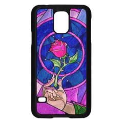 Enchanted Rose Stained Glass Samsung Galaxy S5 Case (black) by Onesevenart