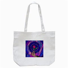 Enchanted Rose Stained Glass Tote Bag (white) by Onesevenart
