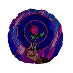 Enchanted Rose Stained Glass Standard 15  Premium Flano Round Cushions