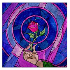 Enchanted Rose Stained Glass Large Satin Scarf (square) by Onesevenart