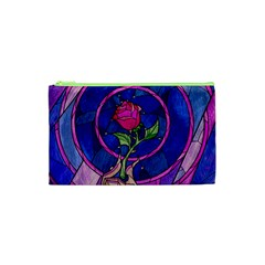 Enchanted Rose Stained Glass Cosmetic Bag (xs) by Onesevenart