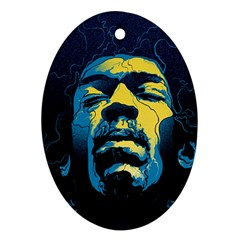 Gabz Jimi Hendrix Voodoo Child Poster Release From Dark Hall Mansion Ornament (oval)  by Onesevenart