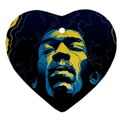Gabz Jimi Hendrix Voodoo Child Poster Release From Dark Hall Mansion Ornament (heart)  by Onesevenart