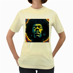 Gabz Jimi Hendrix Voodoo Child Poster Release From Dark Hall Mansion Women s Yellow T Shirt by Onesevenart