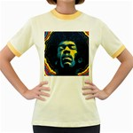 Gabz Jimi Hendrix Voodoo Child Poster Release From Dark Hall Mansion Women s Fitted Ringer T-Shirts