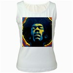 Gabz Jimi Hendrix Voodoo Child Poster Release From Dark Hall Mansion Women s White Tank Top